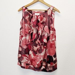 LOFT Sleeveless Red Floral Blouse Ruffled Front